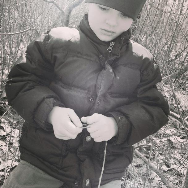 pensive g in woods